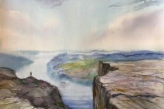 Preikestolen I. Akvarell (30x24,5 cm) kr 900 ur