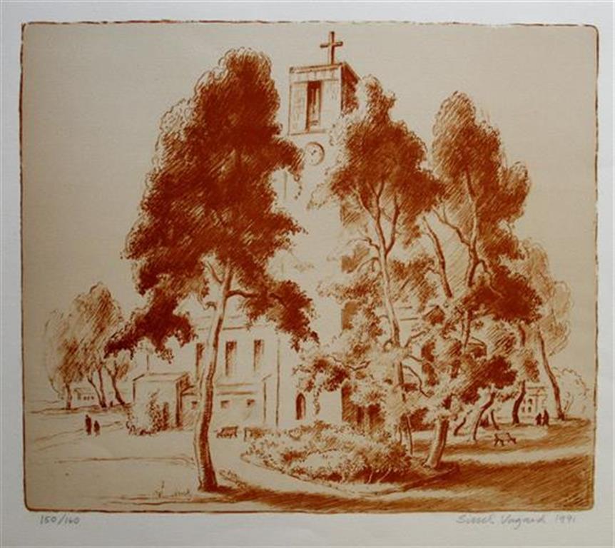 Lillestroem kirke Litografi 41x48,5 cm 1200 ur