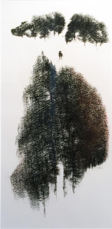 To sammen Tegning, kull (65x33 cm) kr 7900 mr