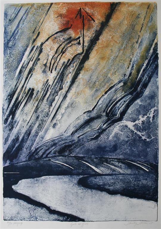 Gull av fjell Litografi 65x46 cm 3500 ur