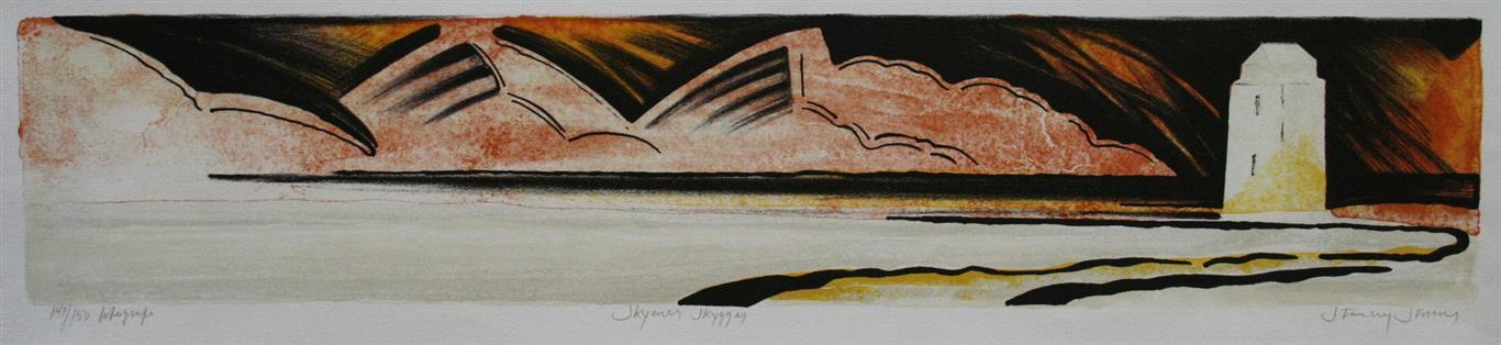 Skyenes skygger Litografi 13x65 cm 2000 ur