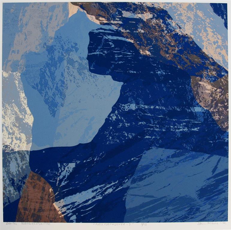Fjellformasjoner - 3 Digital blandingsteknikk 37,5x37,5 cm 2300 ur