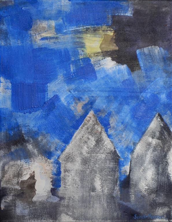 Hus Akrylmaleri (46x36 cm) kr 3400 ur