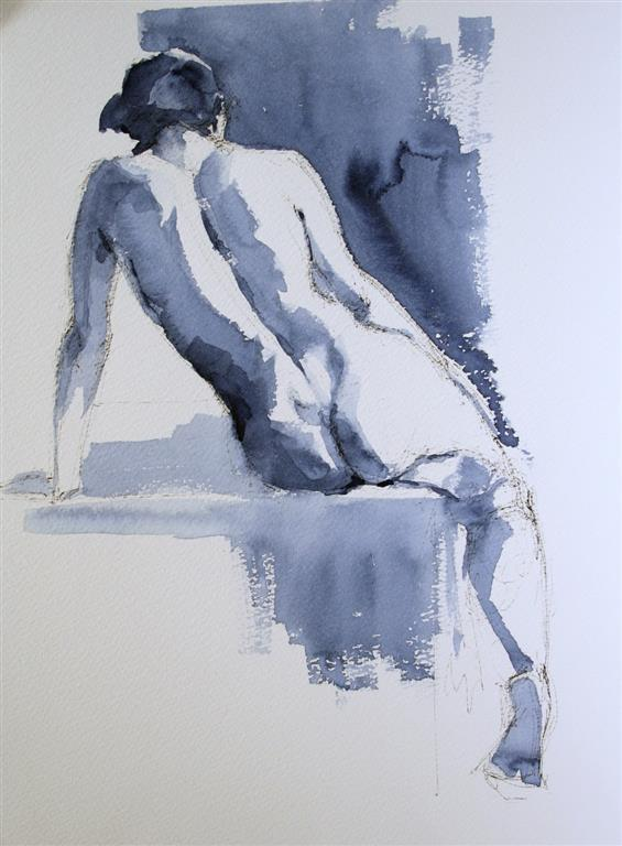 A nude sitting on a table Akvarell (38x28 cm) kr 2800 ur
