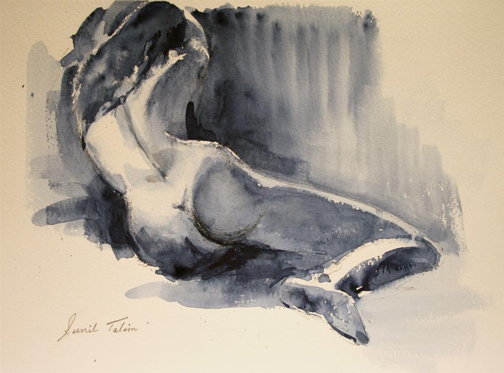 Carla leaning on stool Akvarell (28x38 cm) kr 2600 ur