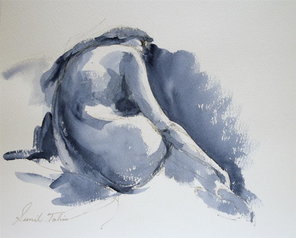 Emma curled up Akvarell 2000 ur