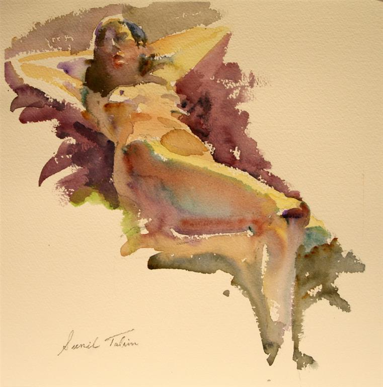 Gilda lying on her back Akvarell (28x29 cm) kr 1500 ur