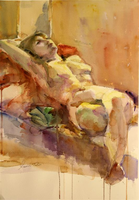 Gilda reclining on bed Akvarell (50x37 cm) kr 8500 ur