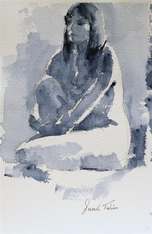 Gilda sitting on floor Akvarell (28x18 cm) kr 1200 ur
