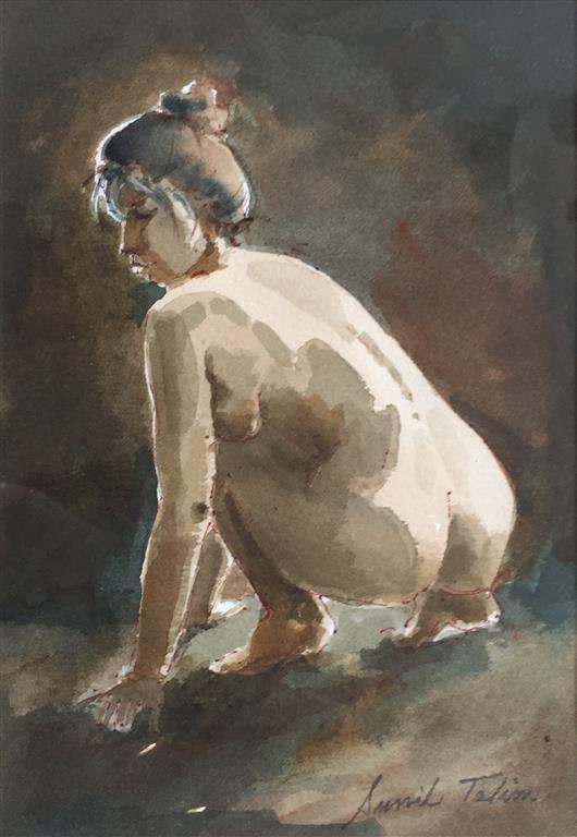 Huksittende akt Akvarell (20x14 cm) kr 1000 ur