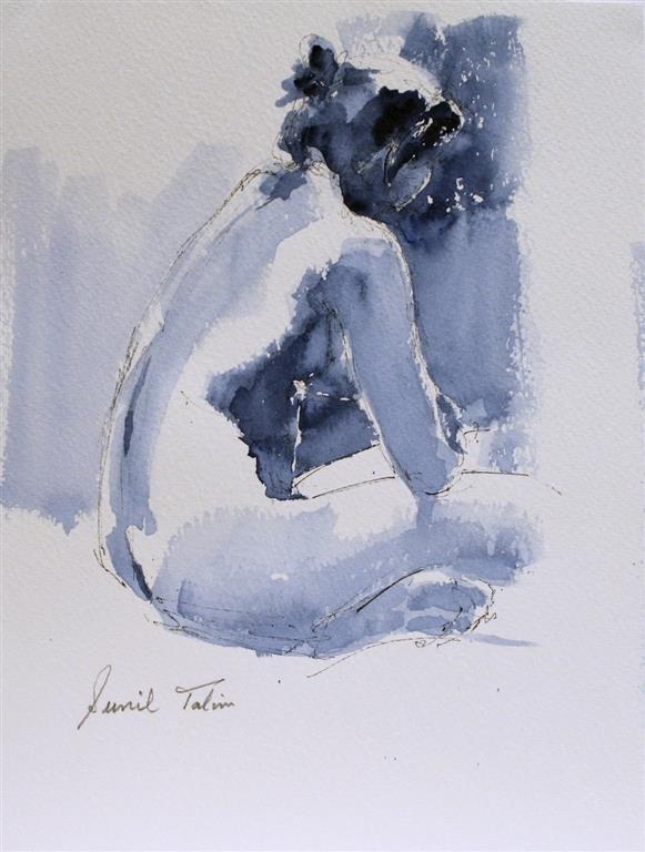 Jenny resting in bed Akvarell (28x21 cm) kr 1200 ur