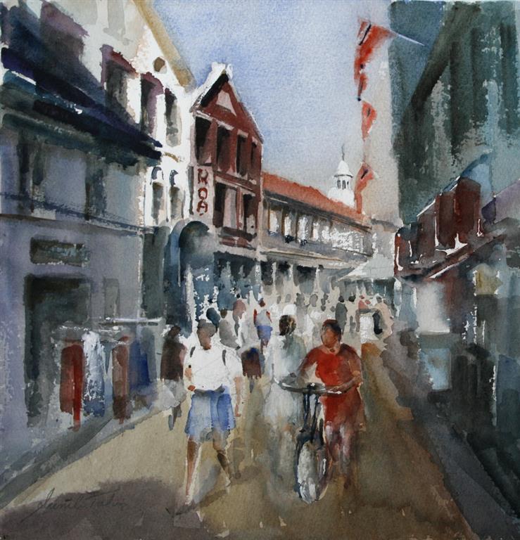 Kirkegaten II Akvarell (27x27 cm) kr 3200 ur
