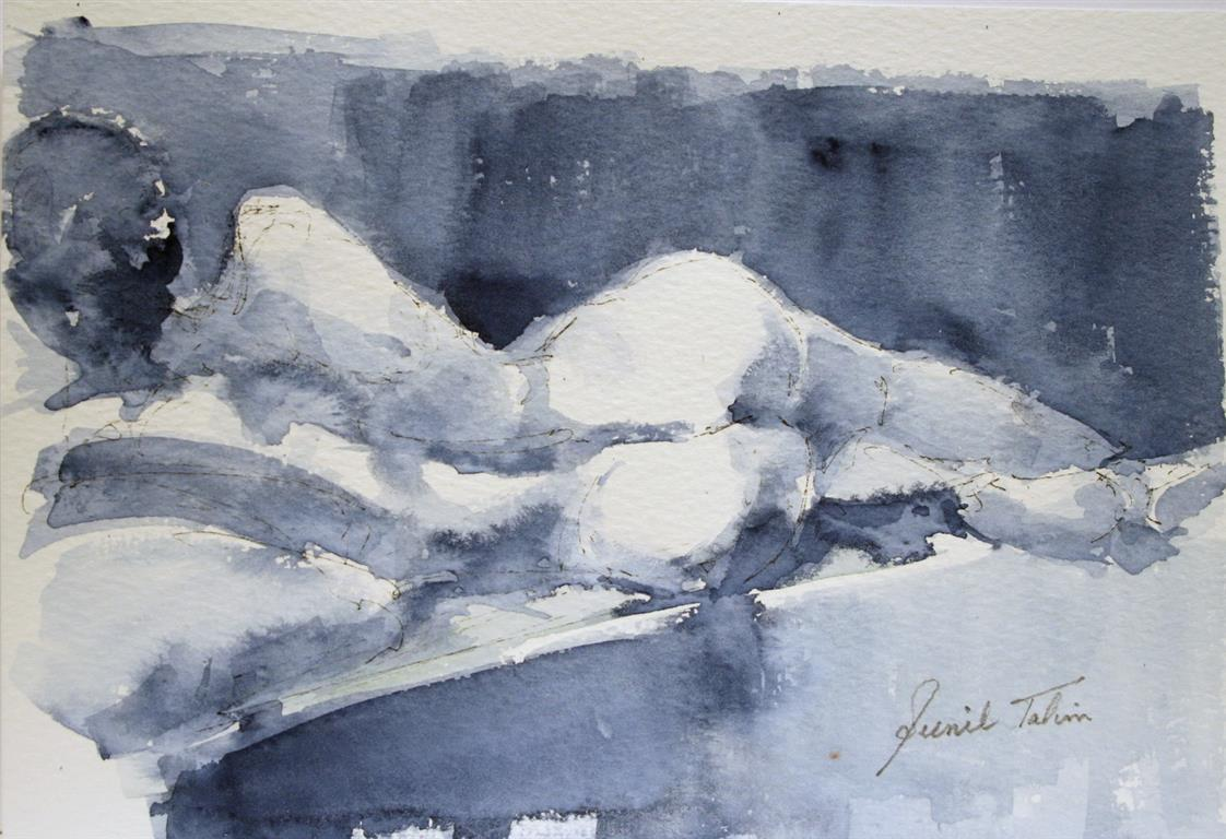 Laticia lying on bed Akvarell 19x28 cm 1400 ur