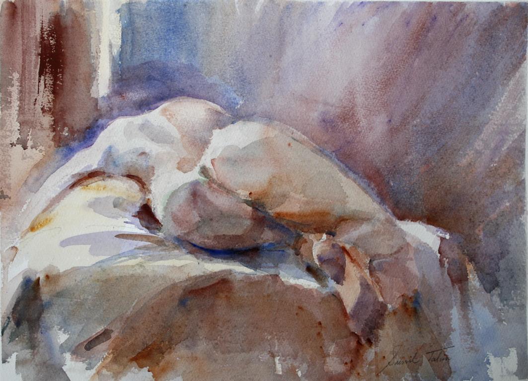 Liggende akt III Akvarell 28x38 cm 3200 ur