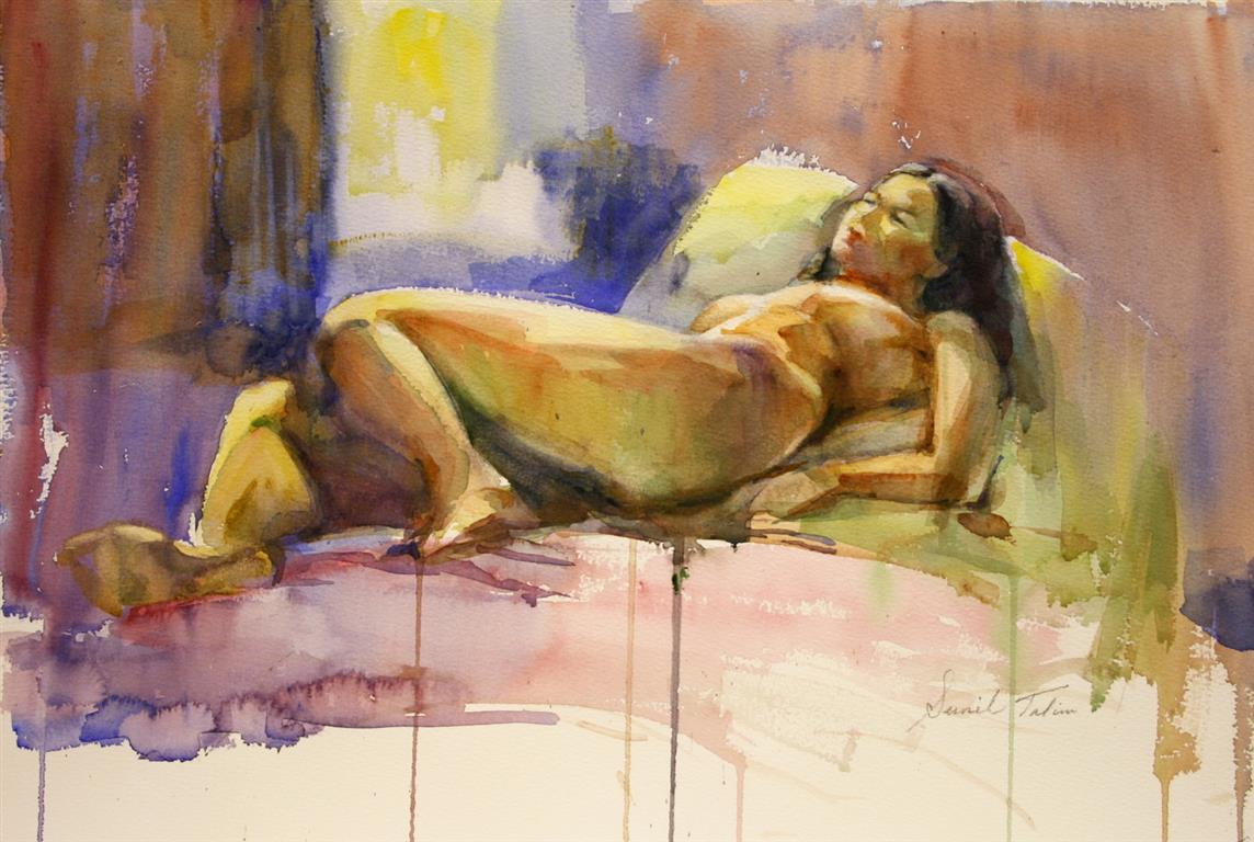 Mary reclining on bed Akvarell 38x50 cm 5800 ur