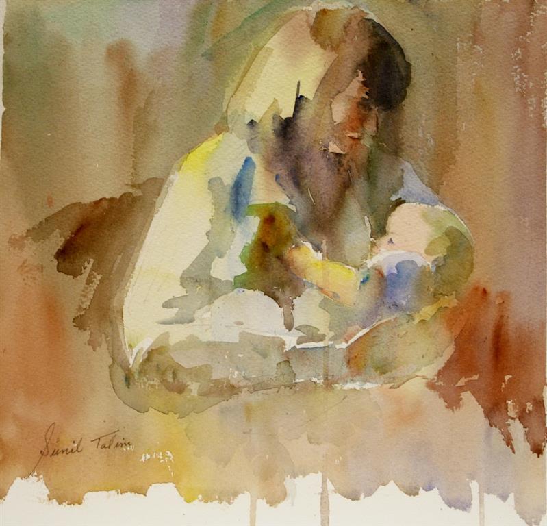 Mor og barn Akvarell 26x27 cm 2500 ur