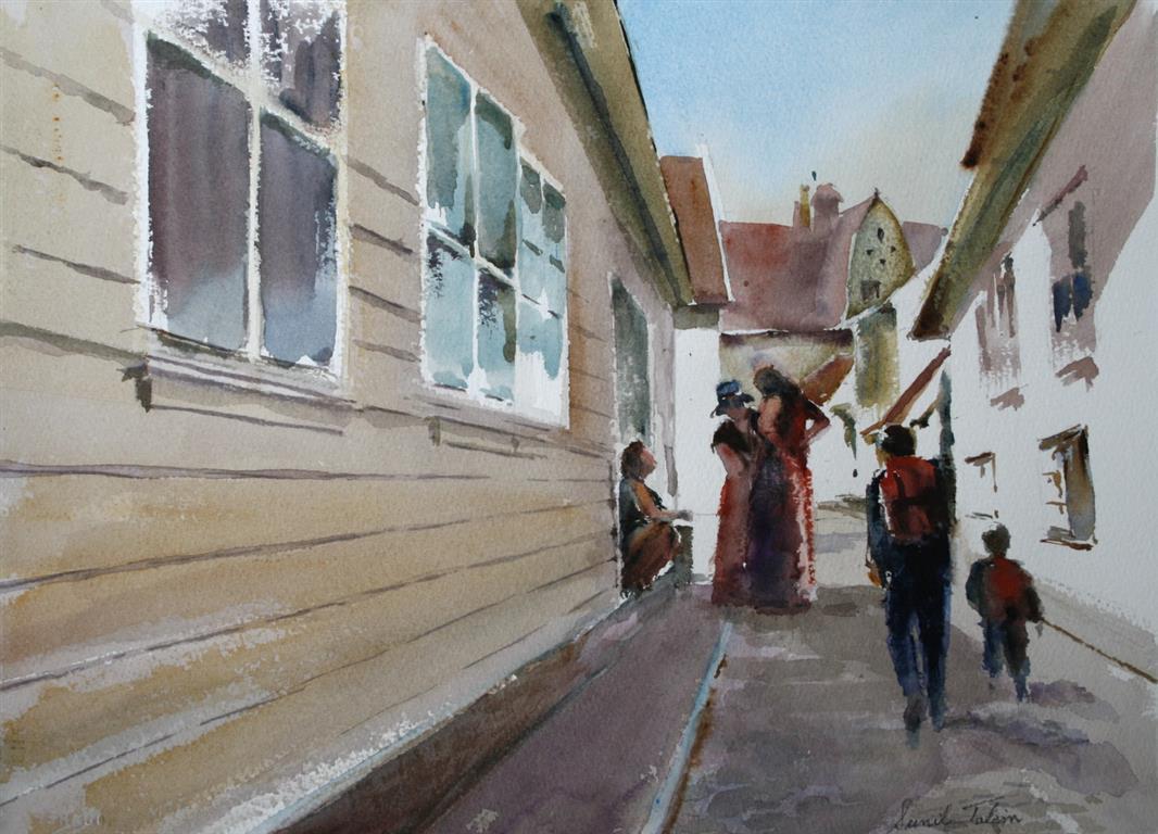 Samtalen Akvarell 28x38 cm 3200 ur