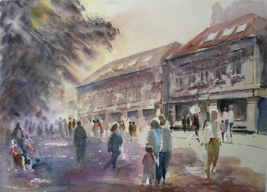 Silkebutikken Akvarell 28x38 cm 3200 ur