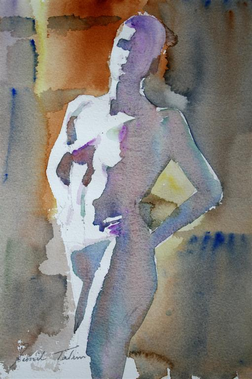 Stående modell Akvarell 28x19 cm 1400 ur