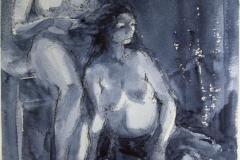 Alyona doing Karens hair Akvarell (38x28 cm) kr 3200 ur