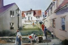 Bakgård Akvarell (28x38 cm) kr 3200 ur