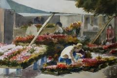 Blomsterhandel, Drammen Akvarell (28x38 cm) kr 3200 ur
