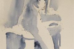 Gilda leaning on stool Akvarell (28x19 cm) kr 1200 ur