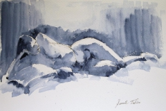 Gilda reclining on bed Akvarell (28x38 cm) kr 2400 ur