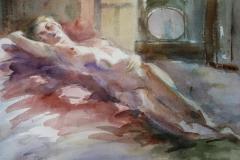 Liggende akt I Akvarell 28x38 cm 3200 ur