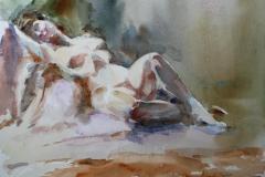 Liggende akt II Akvarell 28x38 cm 3200 ur