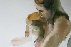 Mor med barn Akvarell 28x38 cm 3200 ur