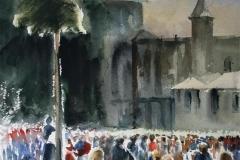 Nasjonaldagen, 17. mai Akvarell 28x38 cm 3200 ur