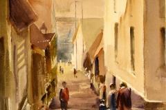 Ned mot kaien Akvarell 38x28 cm 3200 ur