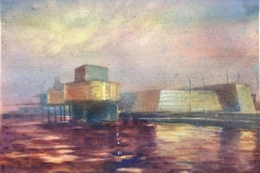Oljemuseet I Akvarell (28x38 cm) kr 3500 ur