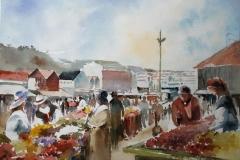 Paa torget, Stavanger Akvarell 28x38 cm 3200 ur