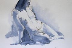 Sittende akt Akvarell 28x28 cm 700 ur