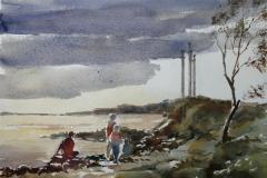 Sverd i fjell Akvarell 28x38 cm 3200 ur