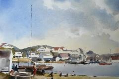 Tananger havn Akvarell 28x38 cm 3200 ur
