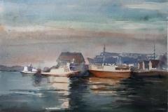 Ved kaien Akvarell 28x38 cm 3200 ur