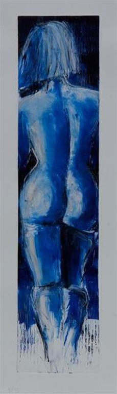 Blå akt - Rygg XV Monotypi (66x15 cm) kr 3500 ur