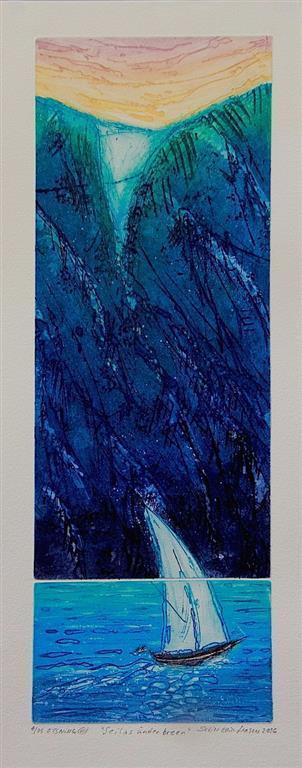 Seilas under breen Etsning (49x17 cm) kr 1700 ur
