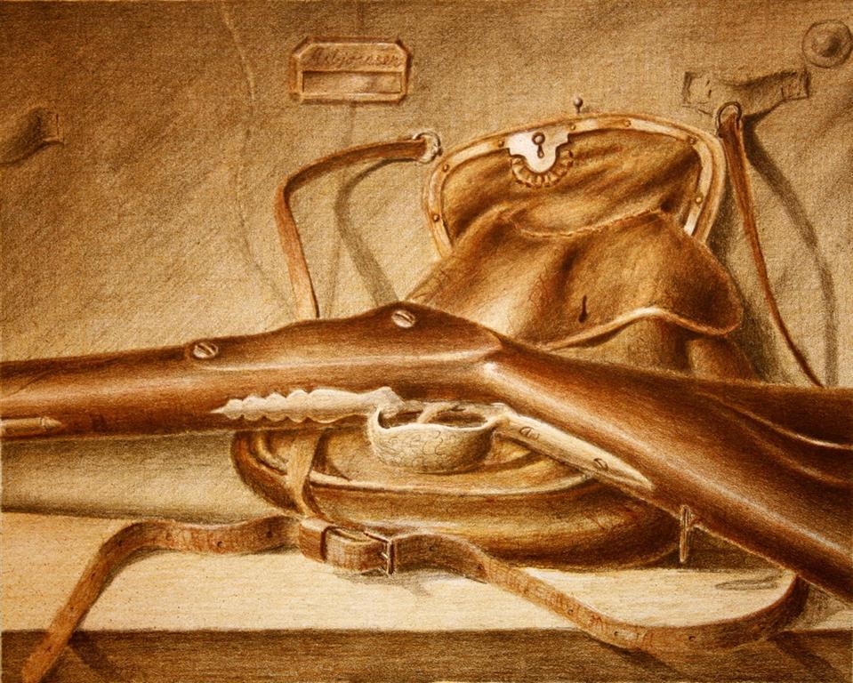 P. Chr. Asbjoernsens gevaer og kruttpug Litografi 24x30 cm 1500 ur