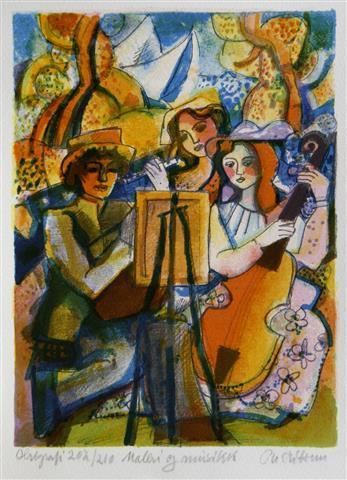 Maleri og musikk Serigrafi (26x19 cm) kr 900 ur