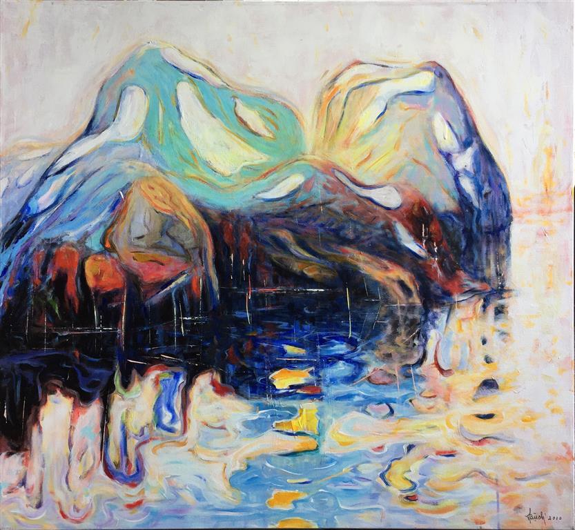 Blå I Akrylmaleri (100x110 cm) kr 13000