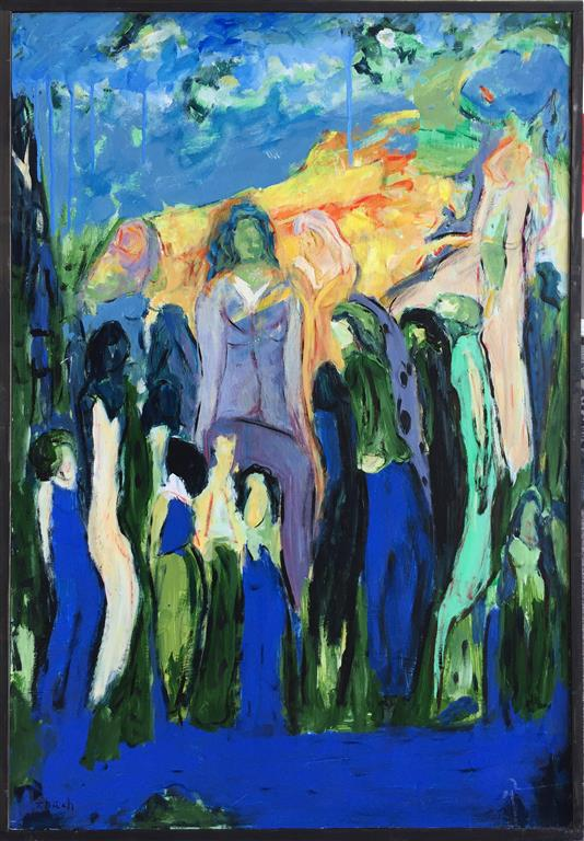 Blå II Akrylmaleri (90x61 cm) kr 6000