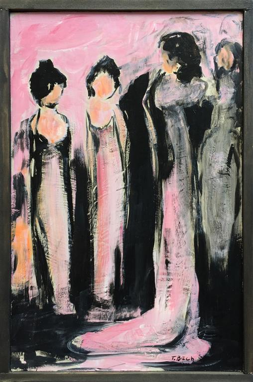 Damenes aften Akrylmaleri (46x30 cm) kr 2500