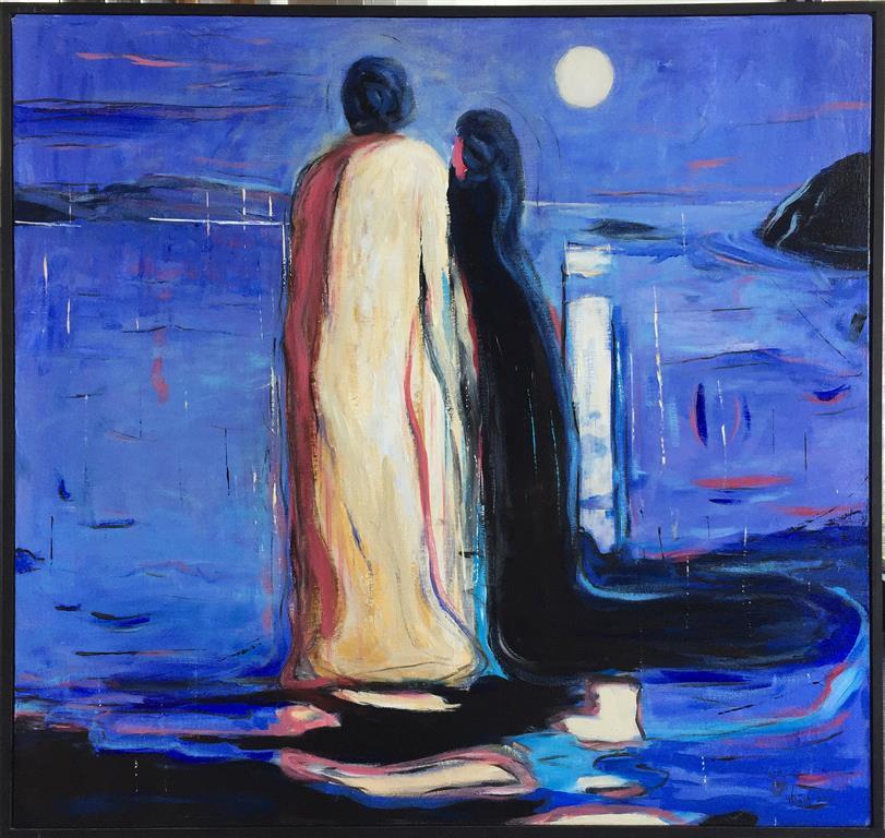 De tosomme Akrylmaleri (90x100 cm) kr 11000