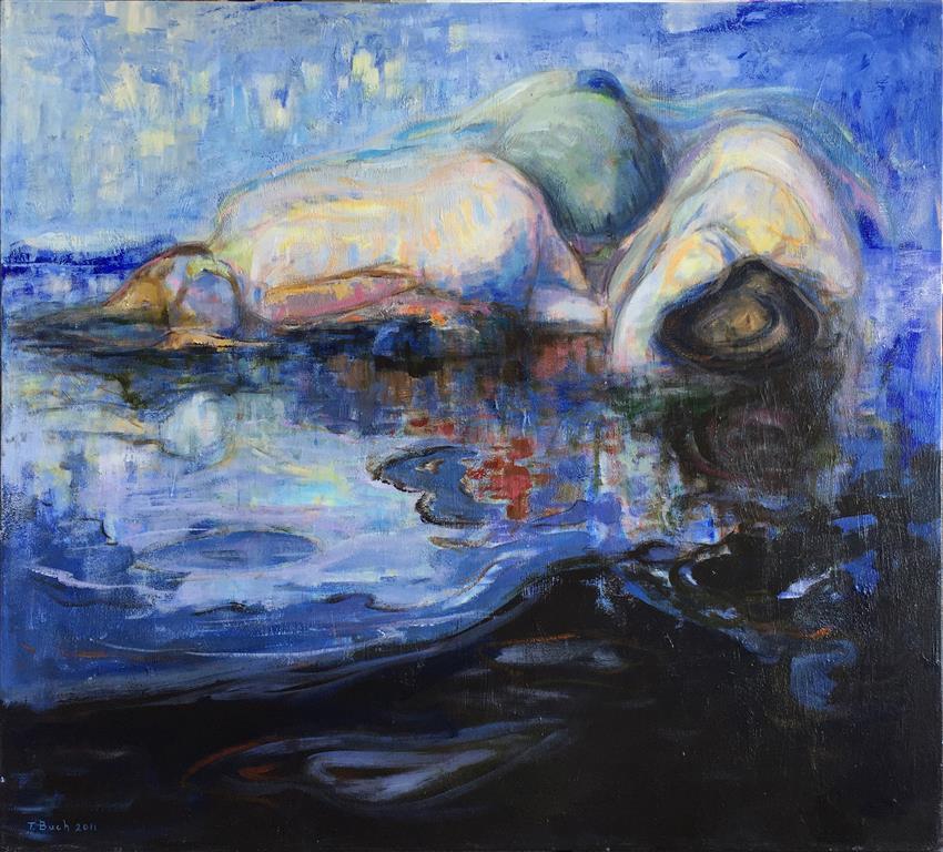 Skjær i sjøen I Akrylmaleri (90x100 cm) kr 11000