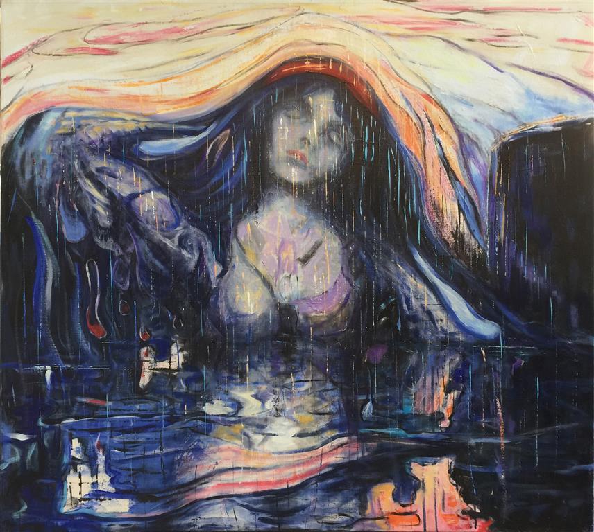 Klippen Akrylmaleri (90x100 cm) kr 16000 ur