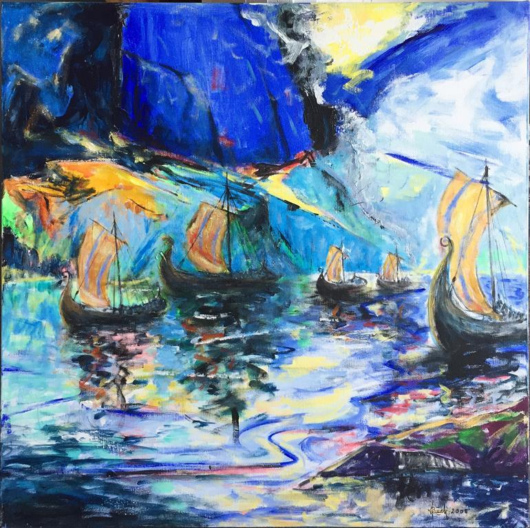 Kong Olav Tryggvason i Bjørgvin Akrylmaleri (80x80 cm) kr 8000 ur